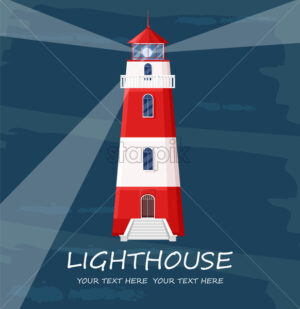 Lighthouse Vector. Red tower symbol. Blue background - starpik