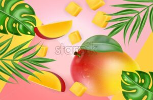 Mango fruit Vector realistic. Fresh delicious dessert slices. Abstract tropic background. Detailed elements. 3d illustration - starpik