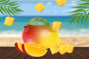 Mango fruit sliced on tropic background Vector realistic. Seaside view. Detailed elements design. 3d illustration - starpik