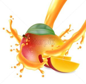 Mango fruit sliced with juice splash Vector realistic. Detailed elements design. 3d illustration - starpik