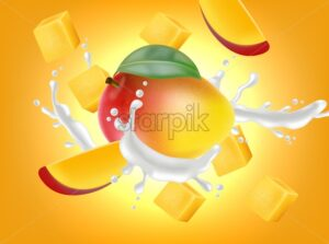 Mango fruit with milk splash Vector realistic. Detailed elements design. 3d illustration - starpik