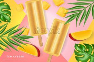 Mango ice cream Vector realistic. Fresh delicious iace cream dessert on a stick. Abstract background. Detailed elements. 3d illustration - starpik