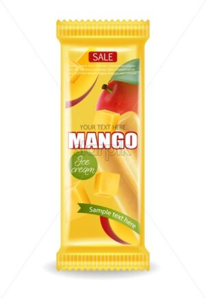Mango ice cream package Vector realistic. Product placement label design. Detailed elements. 3d illustration - starpik
