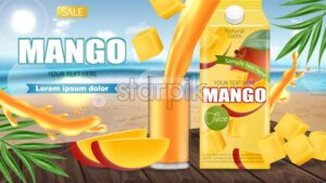 Mango juice Vector realistic. Product placement mock up. Pouring drink in a glass. Packaging design. 3d illustration - starpik