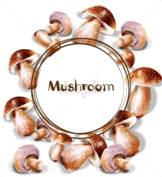Mushroom Vector watercolor. Menu template round frame - starpik