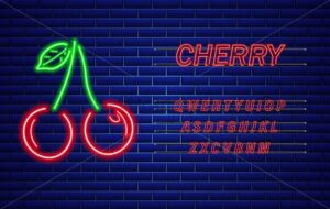 Neon cherry Vector sign. Red fruits with text. Bright glowing signboard - starpik