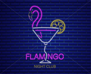 Neon flamingo cocktail sign Vector. Summer exotic banner Vector. Night club poster label. Bright glowing signboard - starpik