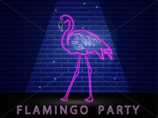 Neon flamingo shining banner Vector. Night club poster label. Bright glowing signboard with light - starpik
