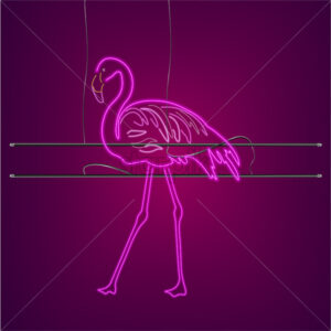 Neon flamingo sign with supports Vector. Night club poster label. Bright glowing signboards with light - starpik