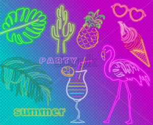 Neon flamingo summer tropic banner Vector. Night club poster label. Bright glowing signboard - starpik