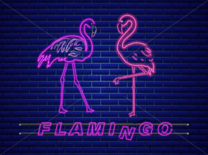 Neon flamingos banner Vector. Night club poster label. Bright glowing signboard - starpik