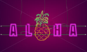 Neon text pineapple sign Vector. Aloha Summer party banner poster - starpik