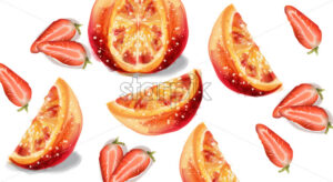 Orange and strawberry slices fruits Vector watercolor illustration - starpik