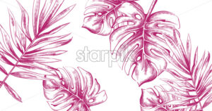 Palm leaves Tropic fsummer background Vector line art. Vintage style - starpik