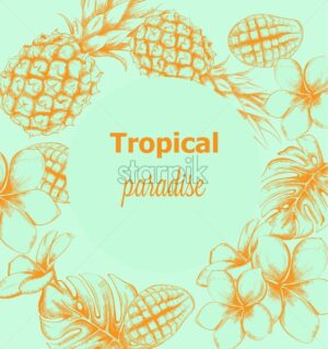 Pineapple and tropic flowers summer poster Vector line arts. Exotic banner card template. Vintage style blue color - starpik