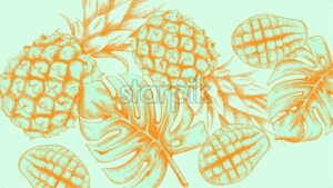 Pineapple tropic summer pattern Vector line arts. Exotic banner card template. Vintage style blue color - starpik