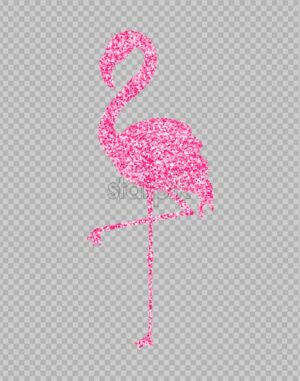 Pink glitter flamingo shining banner Vector. Night club poster label. Bright sparkling signboards. transparent background - starpik