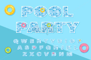 Pool text template Vector. Summer banner blue water background - starpik