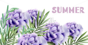 Purple roses Summer background Vector watercolor illustration - starpik