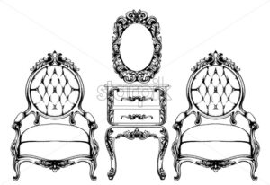 Rich baroque armchair Vector. Imperial style furniture. Vintage design - starpik