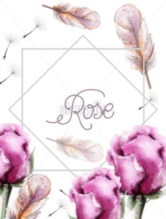 Roses flowers bouquet and feathers. Wedding card with colorful flowers Vector watercolor. Vintage delicate light floral decor - starpik