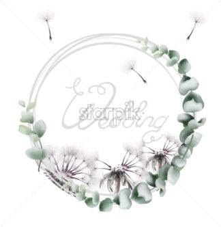 Round wreath dandelion Vector watercolor. Summer floral frame card - starpik