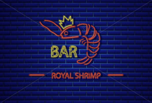 Royal shrimp neon Vector. Fresh glowing icon symbol template - starpik