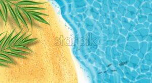 Seaside Vector realistic top view. Beach waves and palm leaves. 3d detailed background - starpik