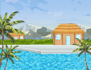 Seaside houses Vector summer background. Tropic paradise blue water and mountain view - starpik