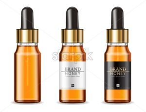 Serum cosmetics bottles Vector realistic. Product placement mock up. Detailed bottles isolated. 3d illustration - starpik