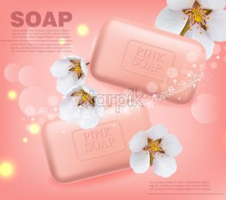 Soap Vector realistic mock up. Product placement label design. cherry blossom scent pink background. 3d illustration - starpik