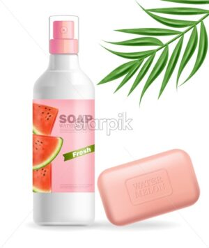 Soap or lotion Vector realistic mock up. Product placement label design. Cosmetics Isolated on white background. 3d illustration - starpik