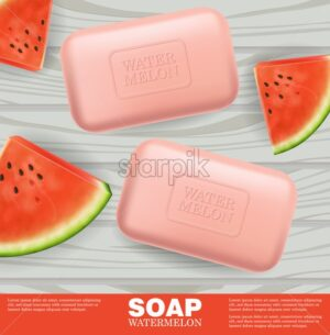 Soap or lotion watermelon flavor Vector realistic mock up. Product placement label design. Cosmetics 3d illustration - starpik