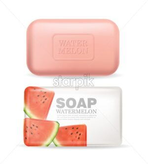 Soap or lotion watermelon flavor Vector realistic mock up. Product placement label design. Cosmetics Isolated on white background. 3d illustration - starpik