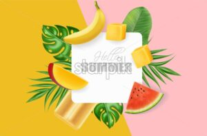 Summer abstract palm leaves banner Vector realistic. Banana, mango and watermelon juicy slices. Colorful background poster - starpik