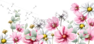 Summer colorful flowers Vector watercolor card background - starpik