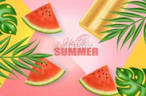 Summer ice cream and watermelon banner Vector realistic. Abstract background with juicy watermelon slices. Colorful poster - starpik