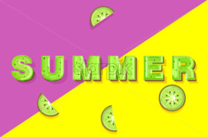Summer kiwi banner text Vector. Abstract colorful background - starpik