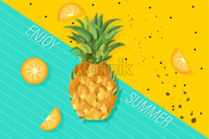 Summer pineapple banner Vector. Fresh fruits tropic posters. Abstract colorful background - starpik