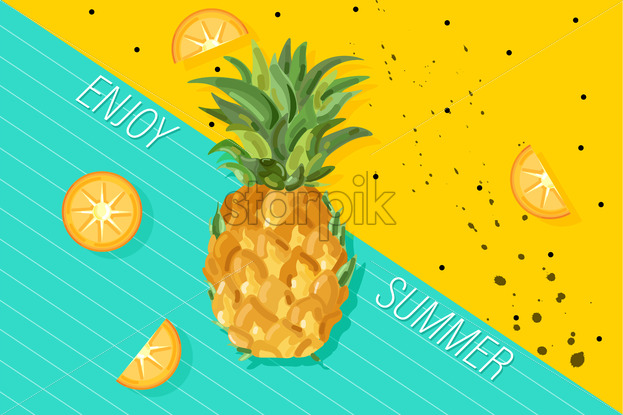 Summer Pineapple Banner Vector Fresh Fruits Tropic Posters Abstract Colorful Background