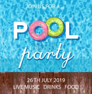 Summer pool party poster Vector. Blue water background - starpik