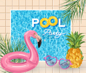Summer pool party poster with flamingo lifering Vector. Summer banner blue water background - starpik