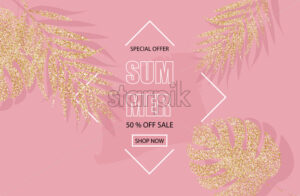 Summer sale banner with glitter golden palm leaves Vector. Pink background - starpik