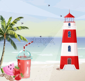 Summer seaside with Lighthouse Vector. Red tower symbol cocktails and palm trees illustration - starpik