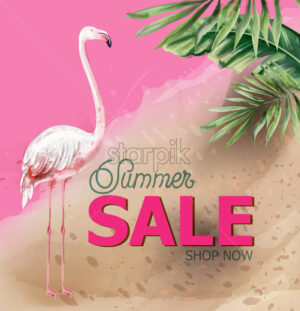 Summer tropic flowers and flamingo card Vector watercolor. Holiday poster. Sale banner template - starpik
