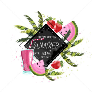 Summer tropic fruits and drinks Vector icon template. Palm leaves and cocktail poster - starpik