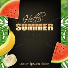 Summer tropic palm leaves banner Vector realistic. Banana and watermelon juicy fruits. Golden text summer poster - starpik