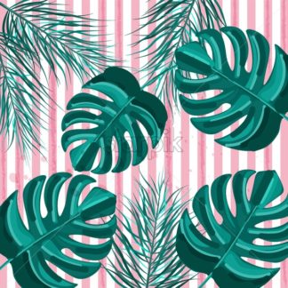 Summer tropic pattern Vector. green palm leaves decor textures vintage style - starpik