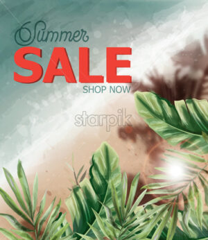 Summer tropic seaside Vector watercolor. Sea cost and palm trees. Holiday poster. Sale banner template - starpik