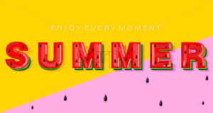 Summer watermelon banner text Vector. Abstract colorful background - starpik